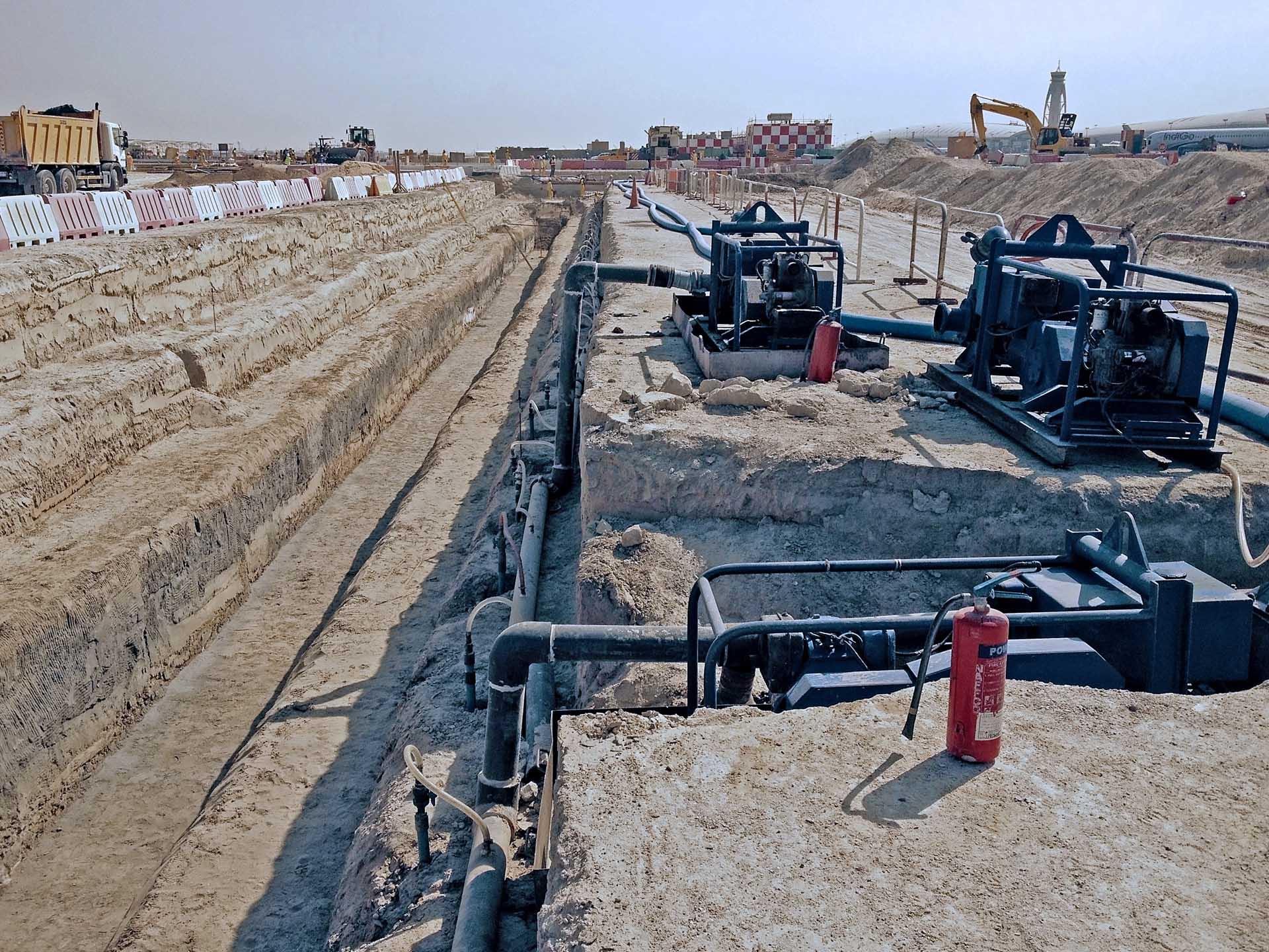 Pipeline wellpoint dewatering, dubai airport