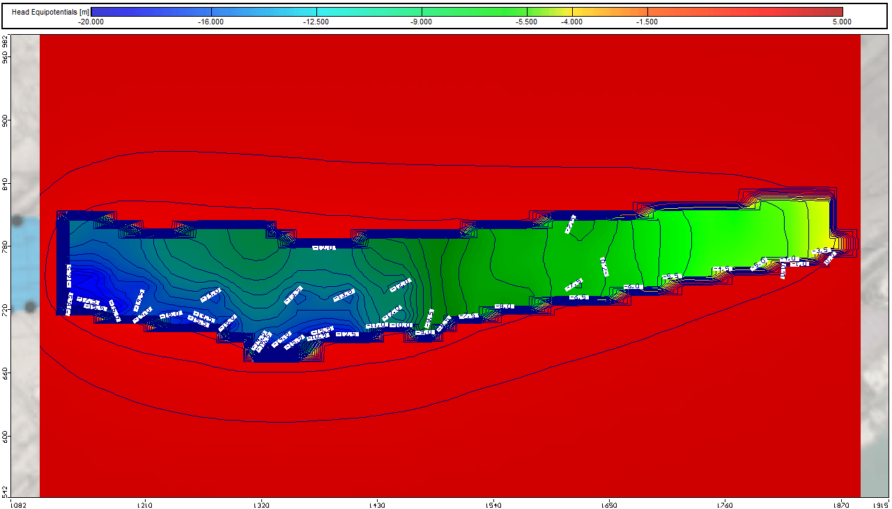Numerical Model Output showing the water head